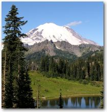 Picture of Mount Ranier behind Tipso Lake